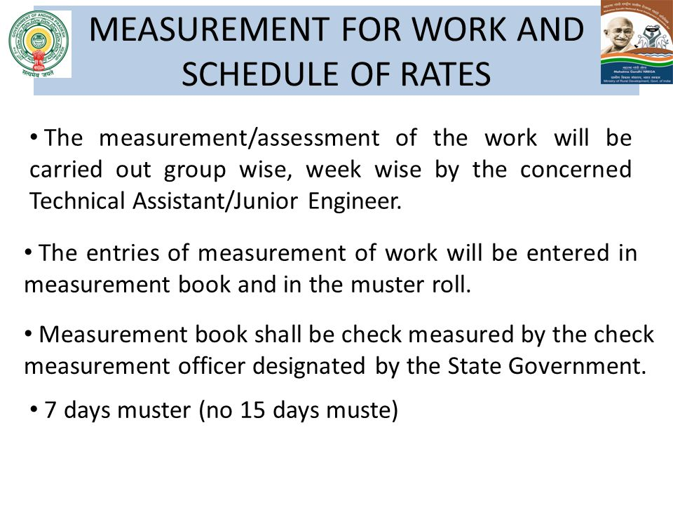 MEASUREMENT FOR WORK AND SCHEDULE OF RATES