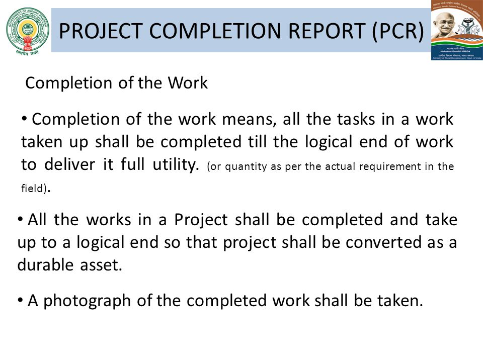 PROJECT COMPLETION REPORT (PCR)