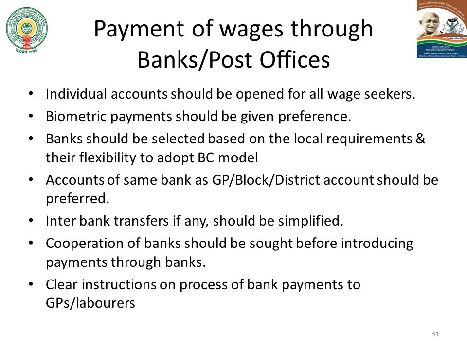 Payment of wages through Banks/Post Offices