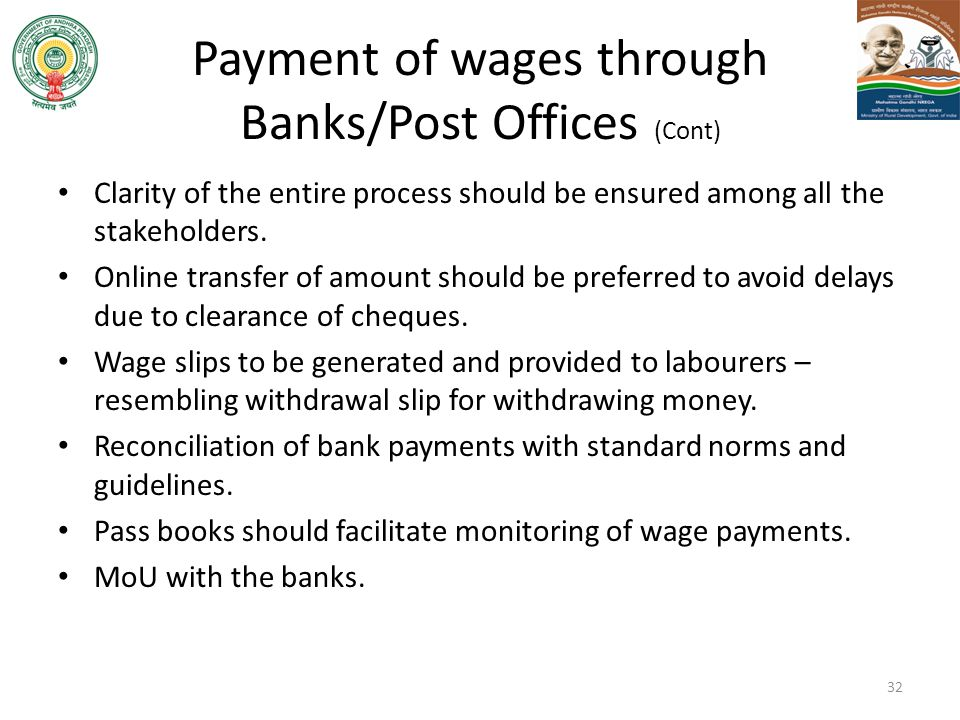 Payment of wages through Banks/Post Offices (Cont)
