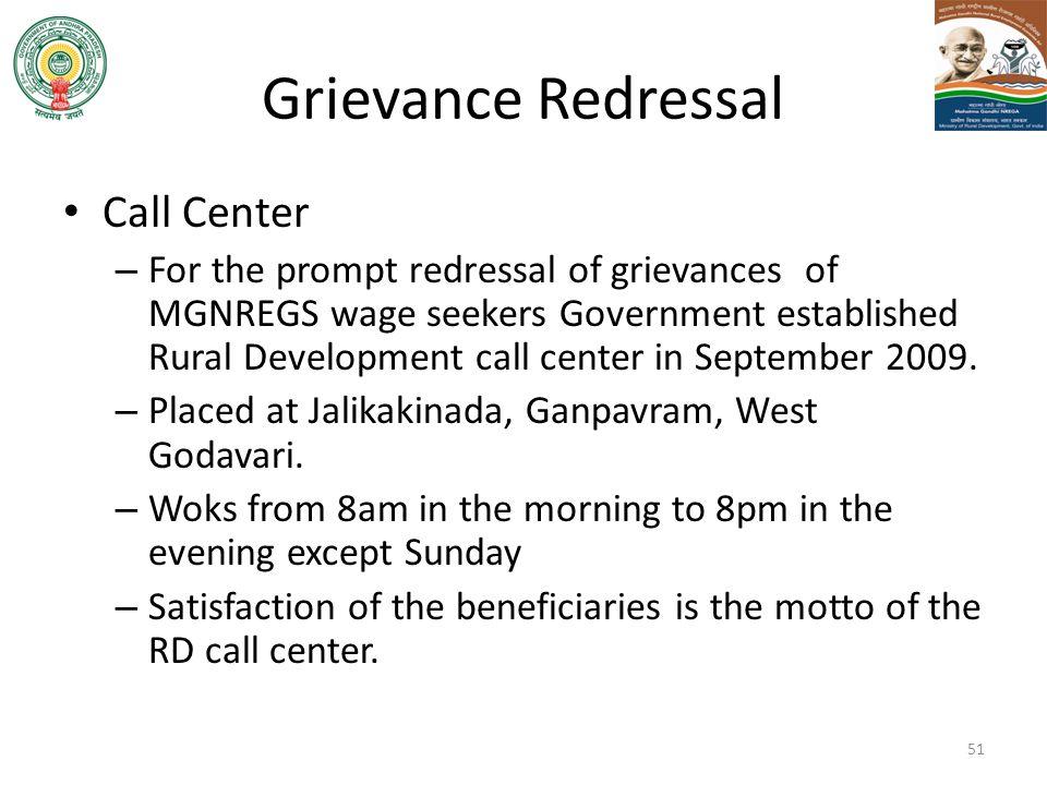 Grievance Redressal Call Center