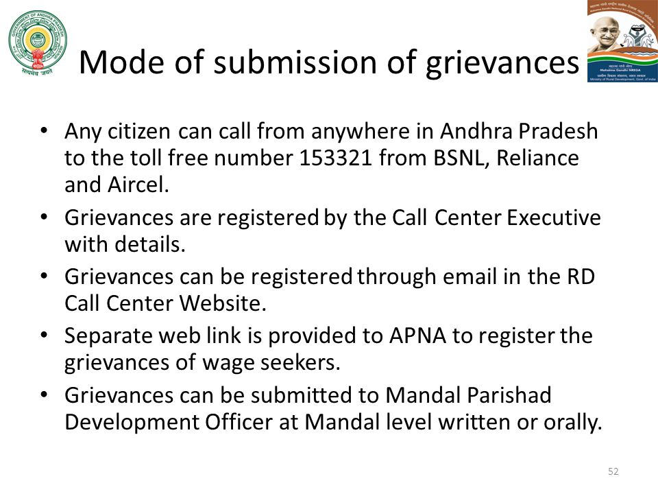 Mode of submission of grievances