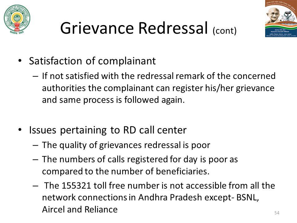 Grievance Redressal (cont)