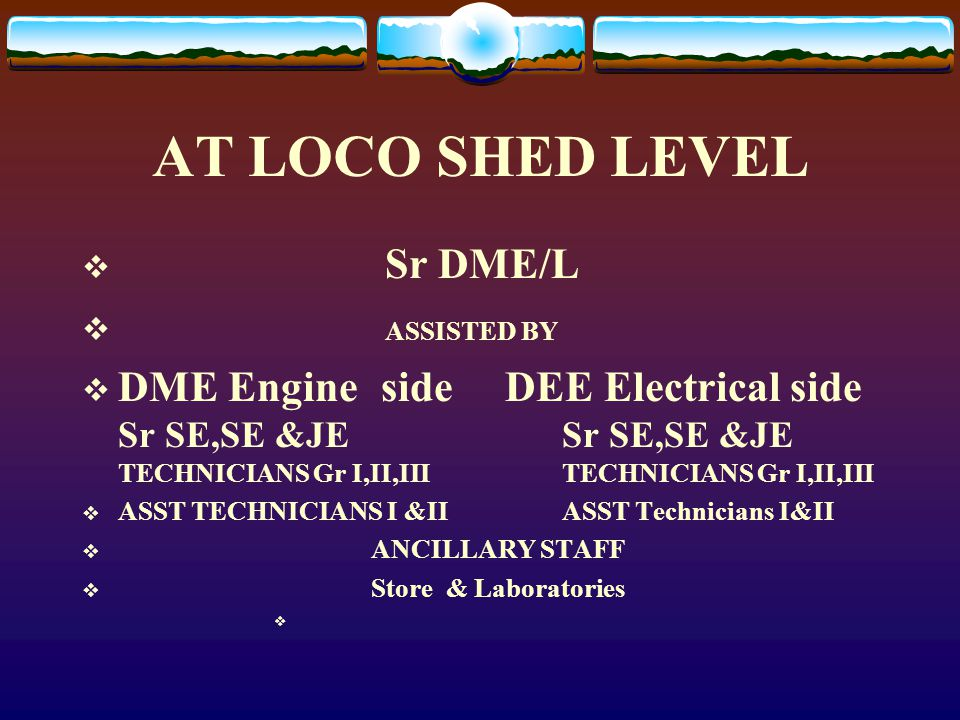 AT LOCO SHED LEVEL Sr DME/L ASSISTED BY