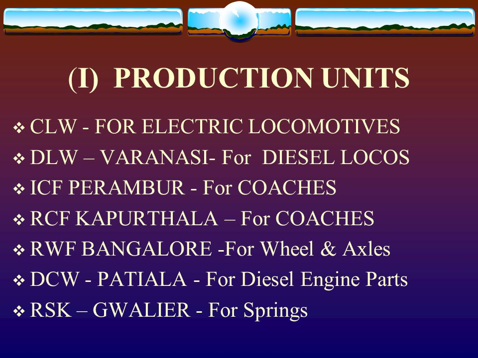 (I) PRODUCTION UNITS CLW - FOR ELECTRIC LOCOMOTIVES