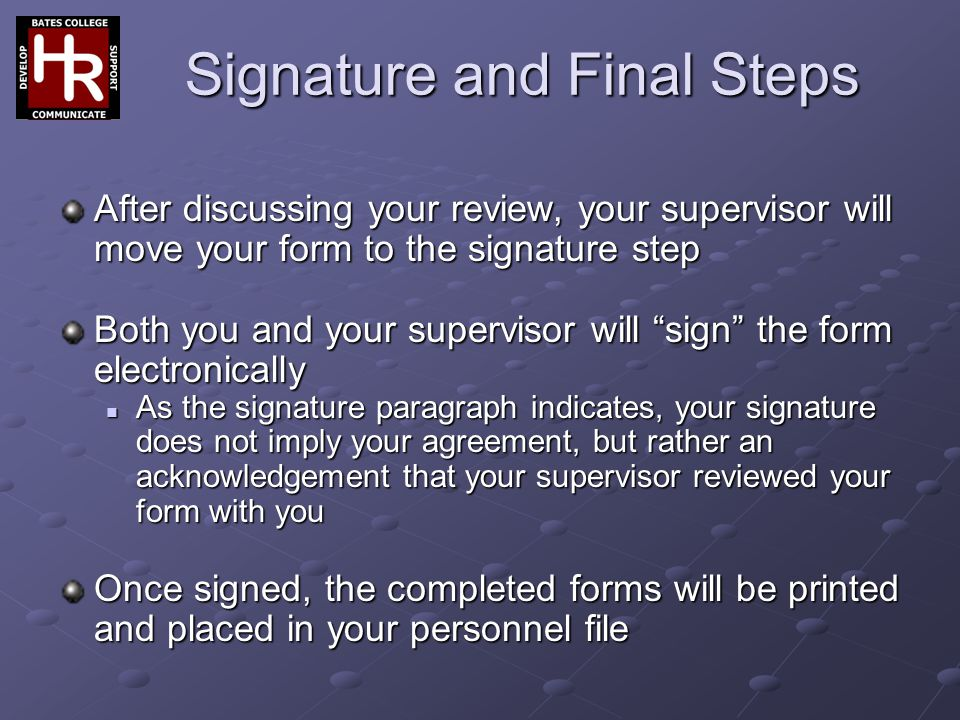 Signature and Final Steps