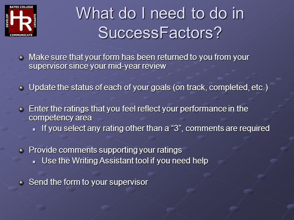 What do I need to do in SuccessFactors