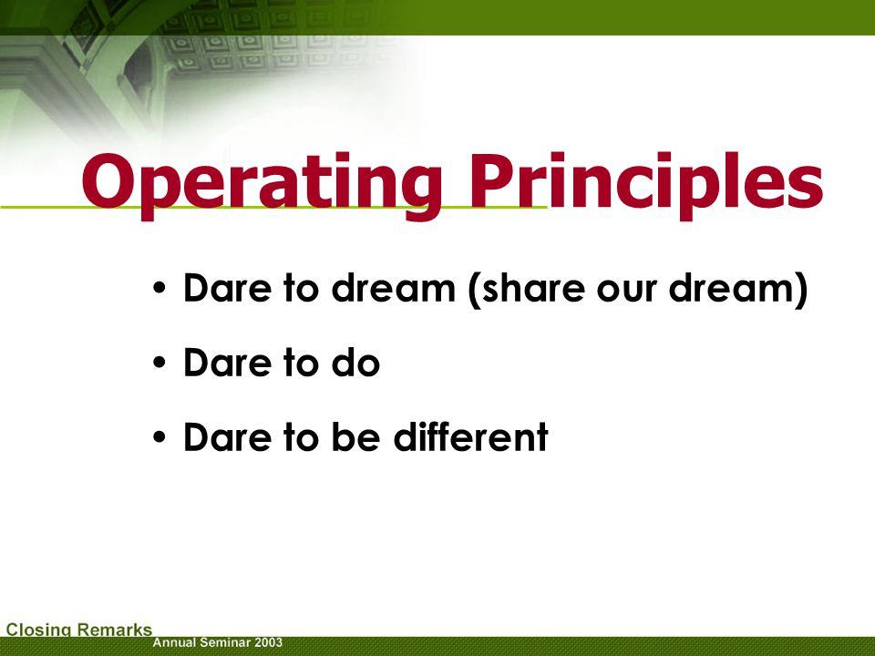 Operating Principles Dare to dream (share our dream) Dare to do