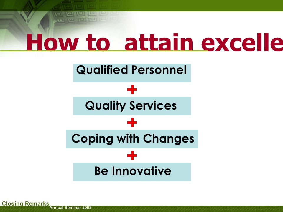 How to attain excellence
