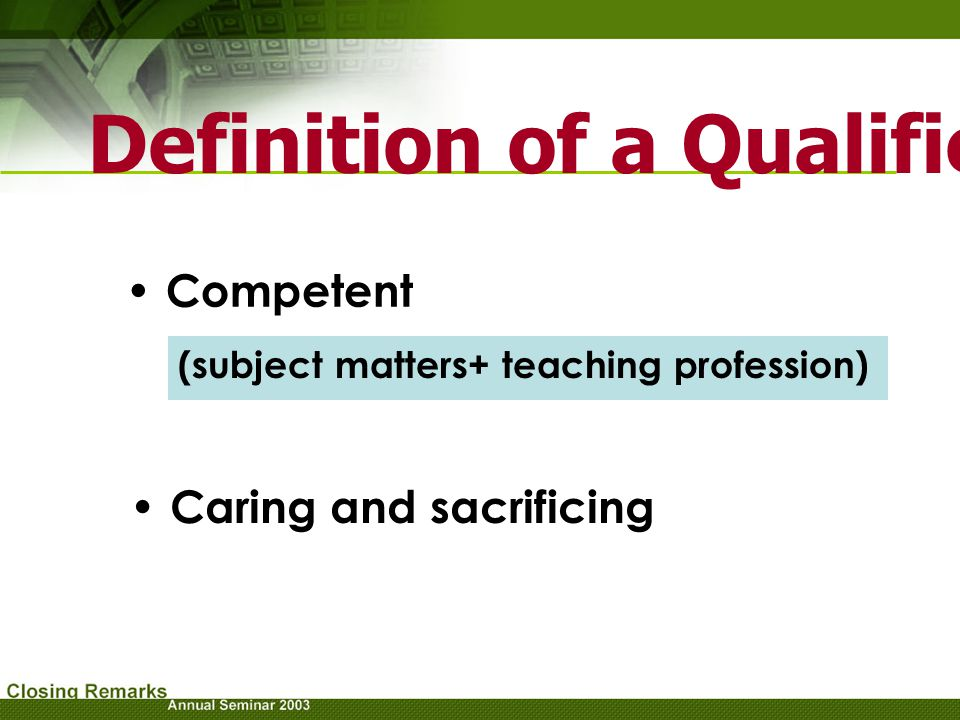 Definition of a Qualified Lecturer