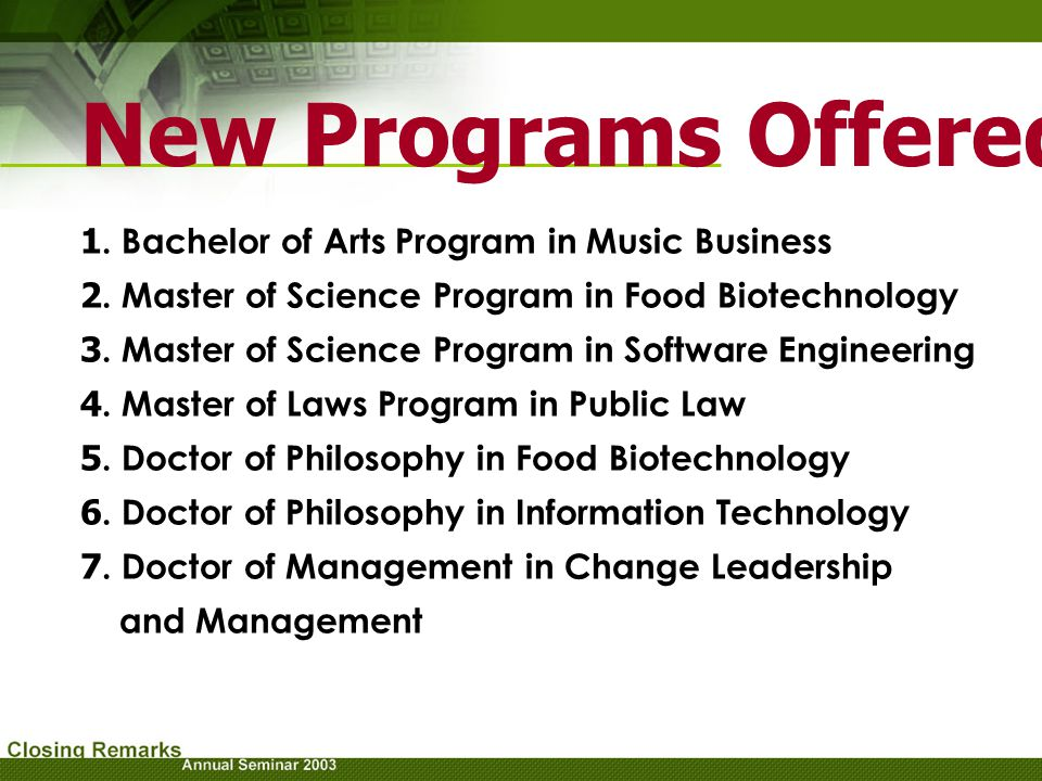 New Programs Offered 1. Bachelor of Arts Program in Music Business