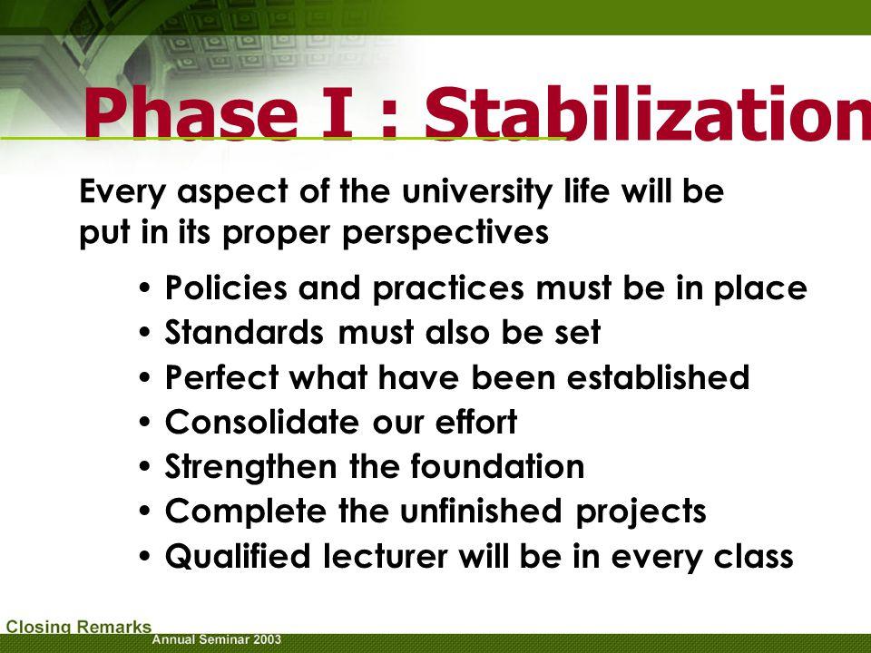 Phase I : Stabilization
