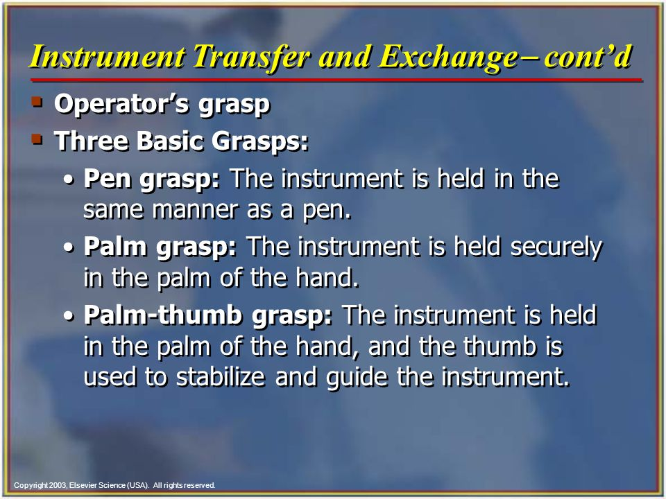 Instrument Transfer and Exchange- cont'd