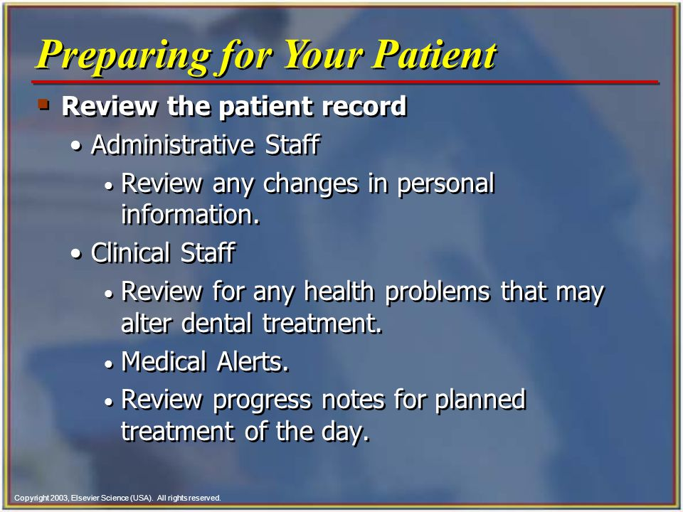Preparing for Your Patient