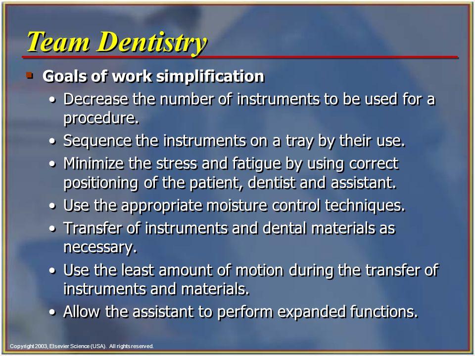 Team Dentistry Goals of work simplification