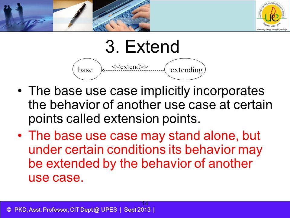 3. Extend base. extending. <<extend>>