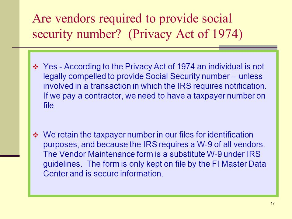 Are vendors required to provide social security number