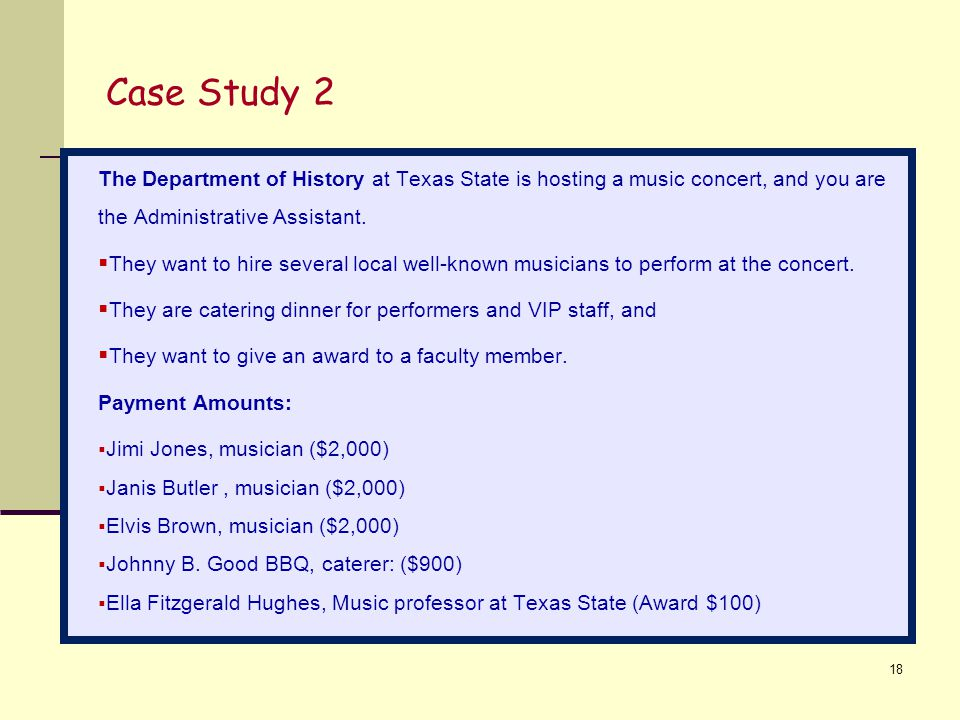 Case Study 2 The Department of History at Texas State is hosting a music concert, and you are the Administrative Assistant.