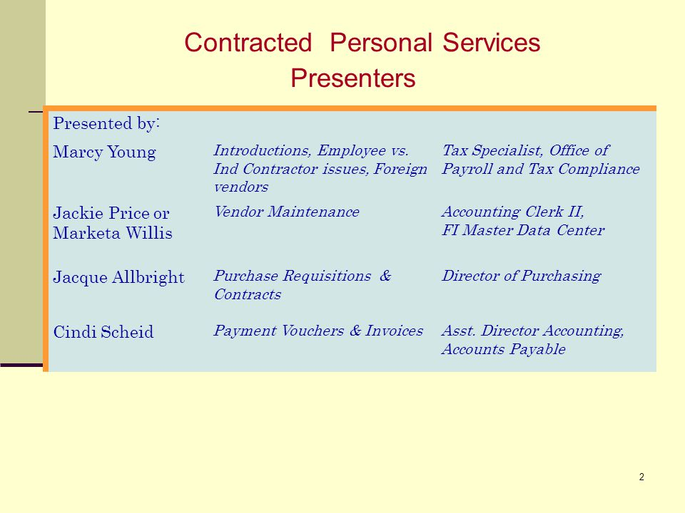 Contracted Personal Services Presenters