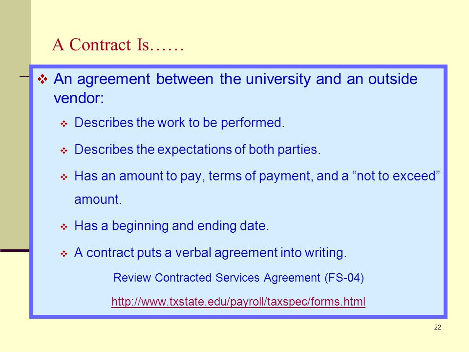 Review Contracted Services Agreement (FS-04)