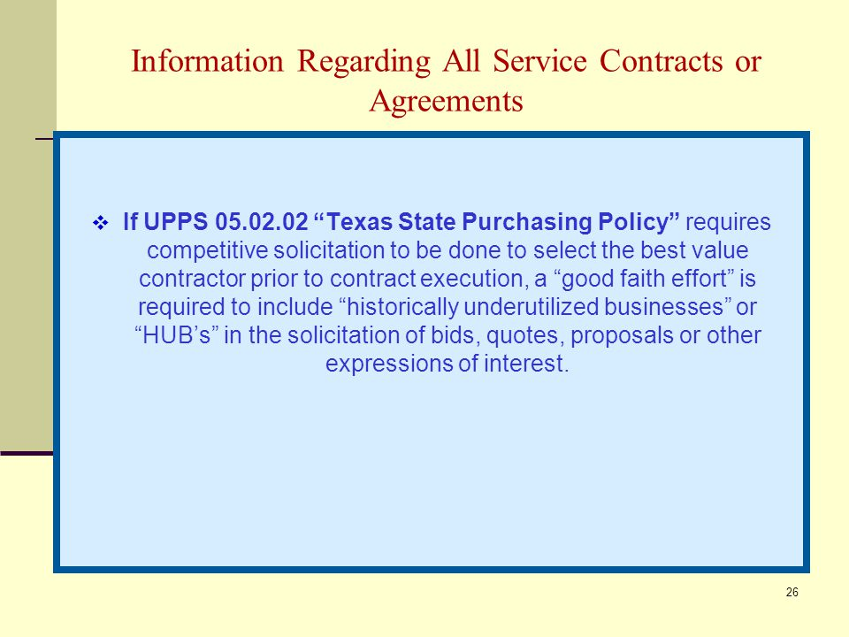 Information Regarding All Service Contracts or Agreements