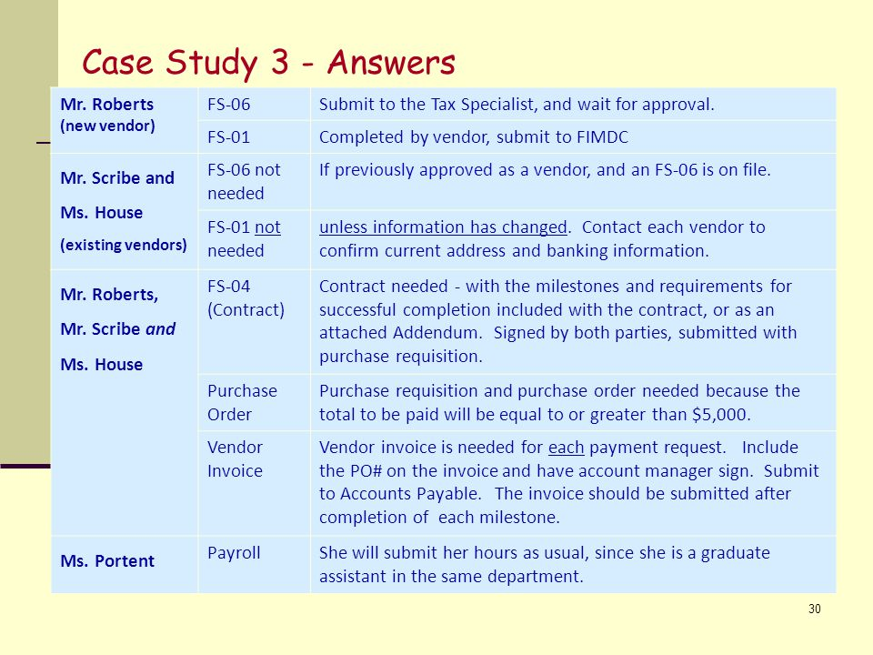 Case Study 3 - Answers Mr. Roberts FS-06