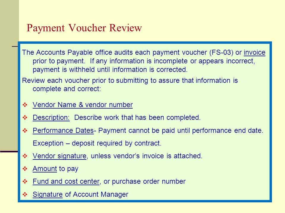 Payment Voucher Review