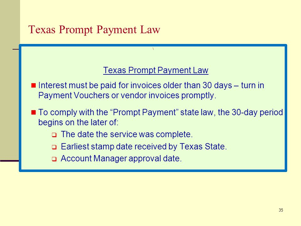 Texas Prompt Payment Law