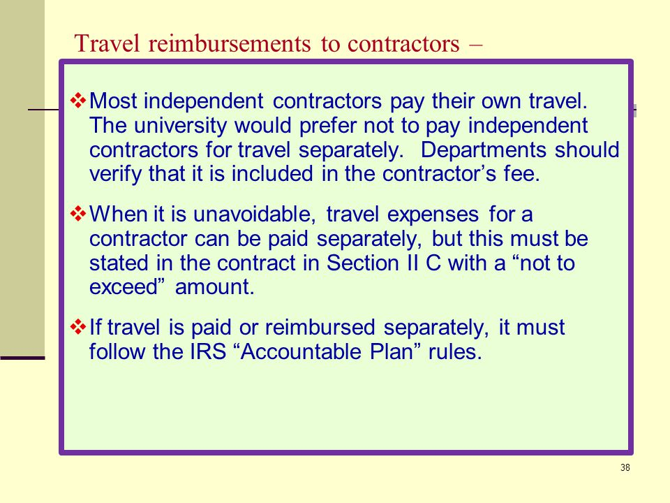 Travel reimbursements to contractors –