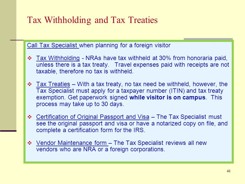 Tax Withholding and Tax Treaties