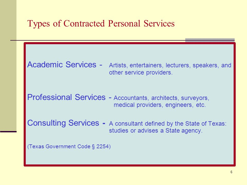 Types of Contracted Personal Services