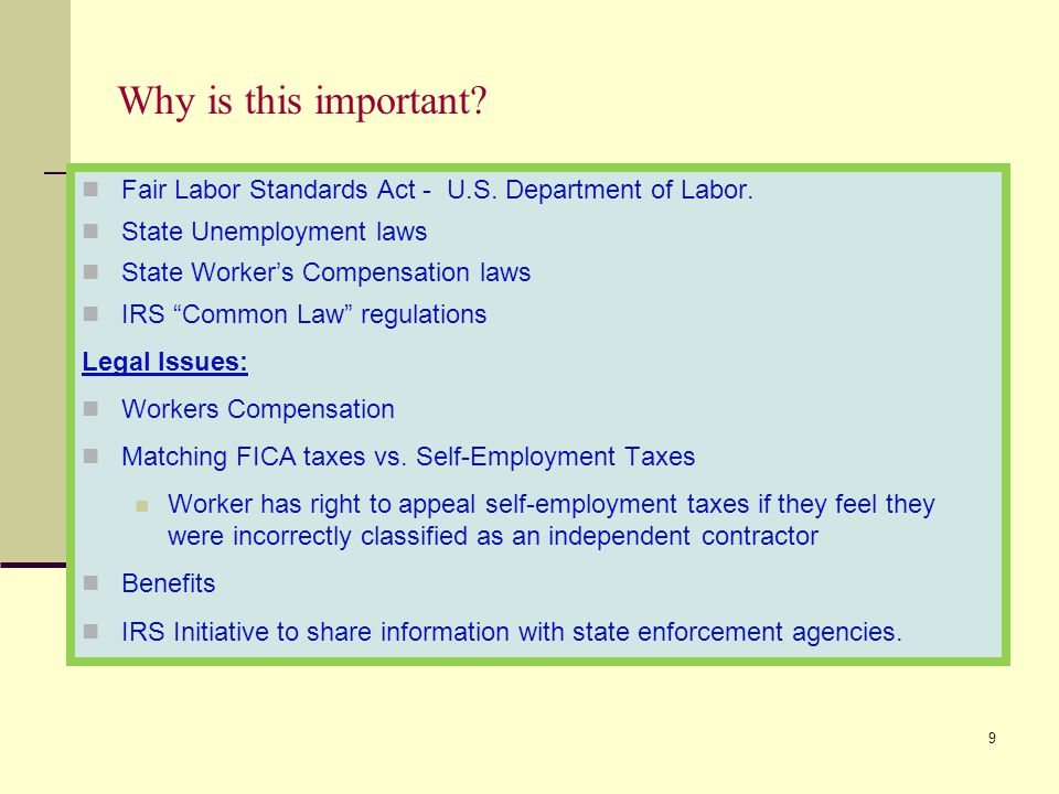 Why is this important Fair Labor Standards Act - U.S. Department of Labor. State Unemployment laws.