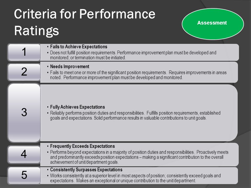 Criteria for Performance Ratings