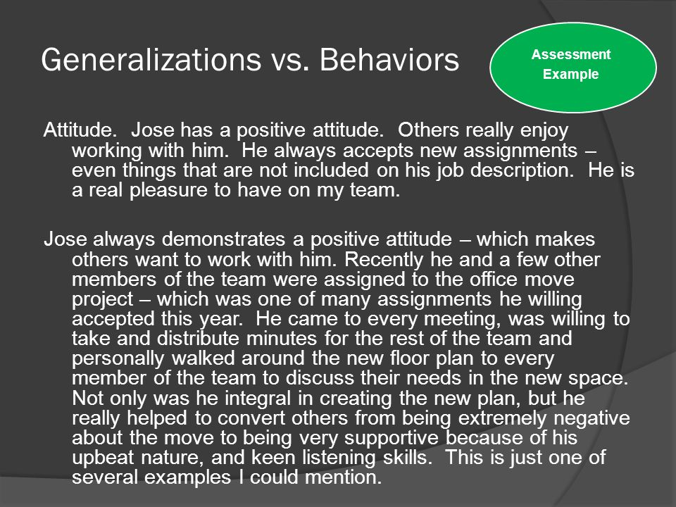Generalizations vs. Behaviors