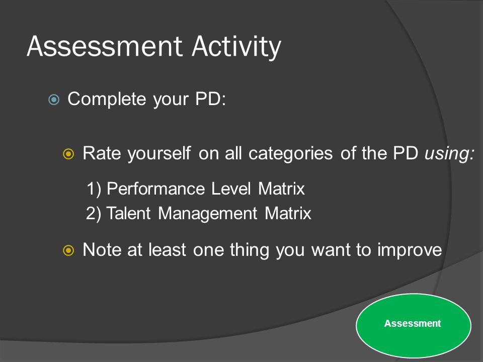 Assessment Activity Complete your PD: