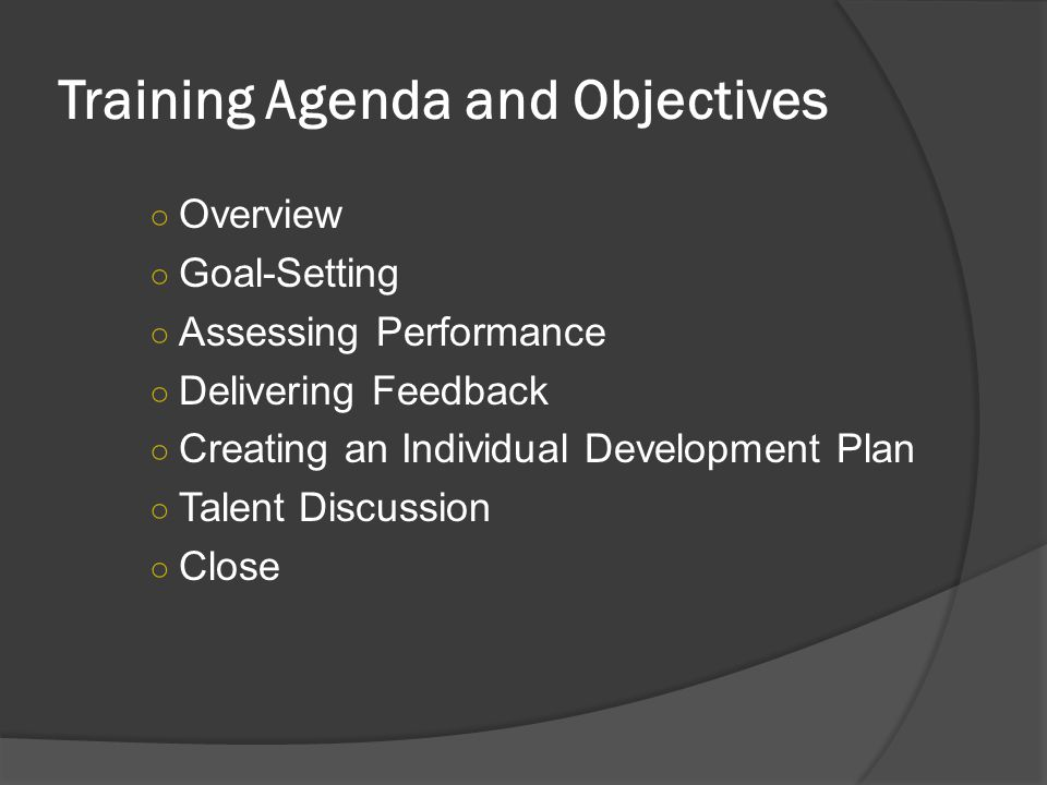 Training Agenda and Objectives