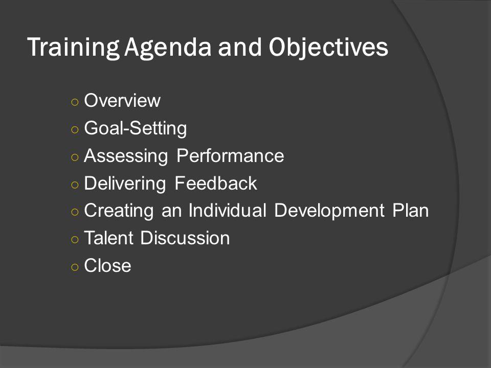 Training Agenda and Objectives