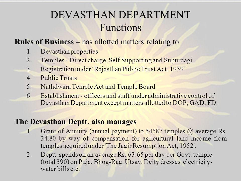 DEVASTHAN DEPARTMENT Functions