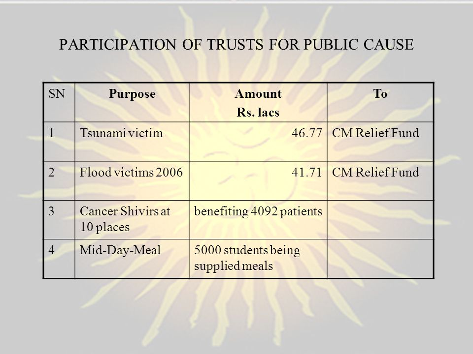 PARTICIPATION OF TRUSTS FOR PUBLIC CAUSE