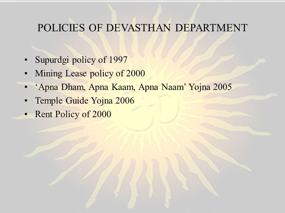 POLICIES OF DEVASTHAN DEPARTMENT