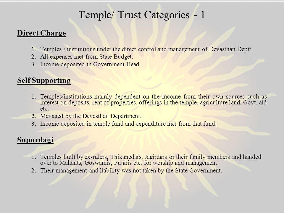 Temple/ Trust Categories - 1