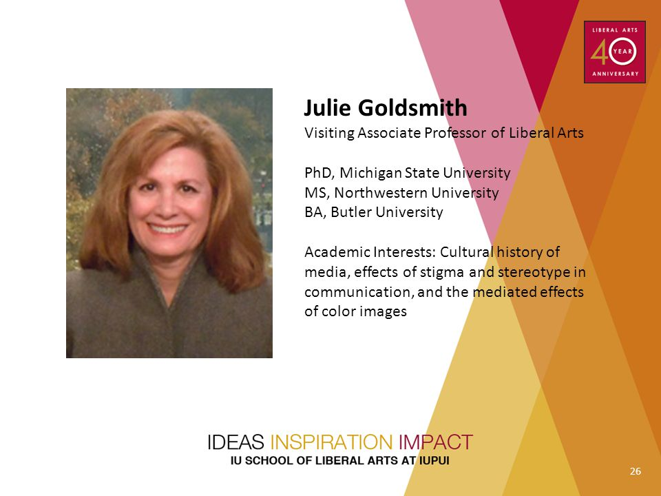 Julie Goldsmith Visiting Associate Professor of Liberal Arts