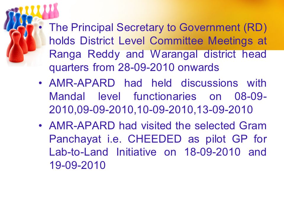 The Principal Secretary to Government (RD) holds District Level Committee Meetings at Ranga Reddy and Warangal district head quarters from 28-09-2010 onwards