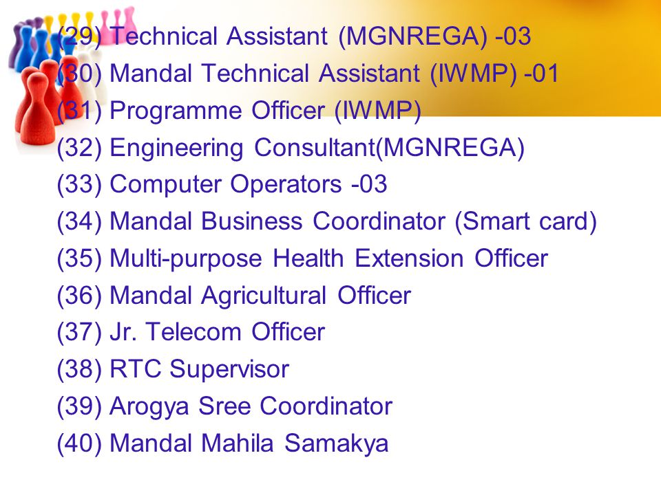 (29) Technical Assistant (MGNREGA) -03 (30) Mandal Technical Assistant (IWMP) -01 (31) Programme Officer (IWMP) (32) Engineering Consultant(MGNREGA) (33) Computer Operators -03 (34) Mandal Business Coordinator (Smart card) (35) Multi-purpose Health Extension Officer (36) Mandal Agricultural Officer (37) Jr.