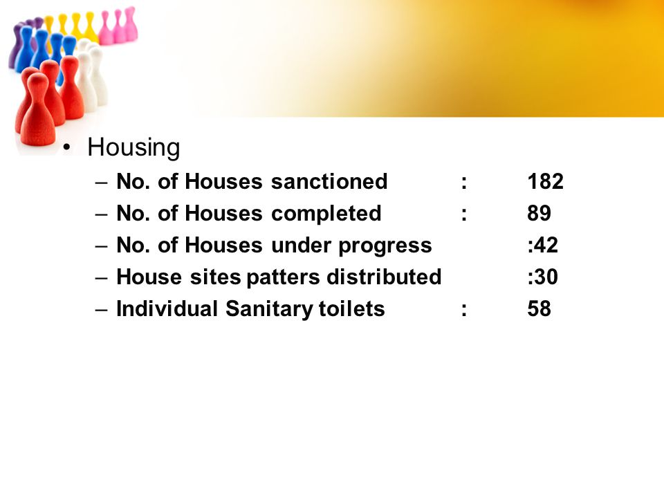 Housing No. of Houses sanctioned : 182 No. of Houses completed : 89