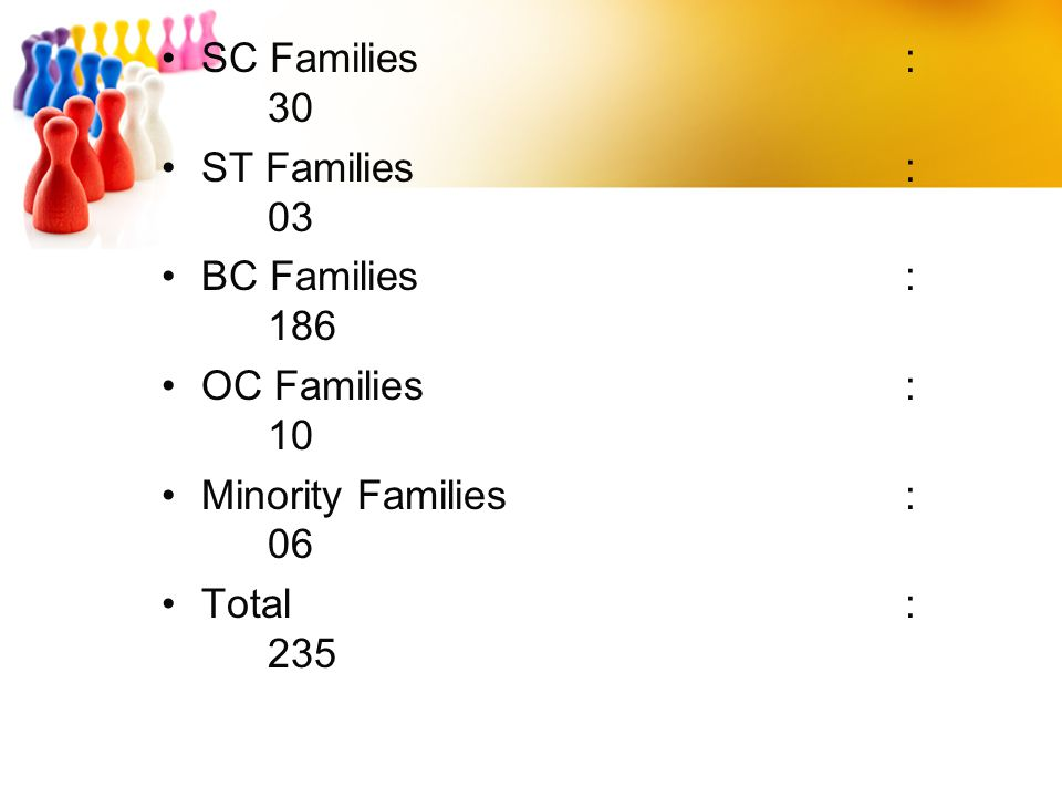SC Families : 30 ST Families : 03. BC Families : 186. OC Families : 10. Minority Families : 06.
