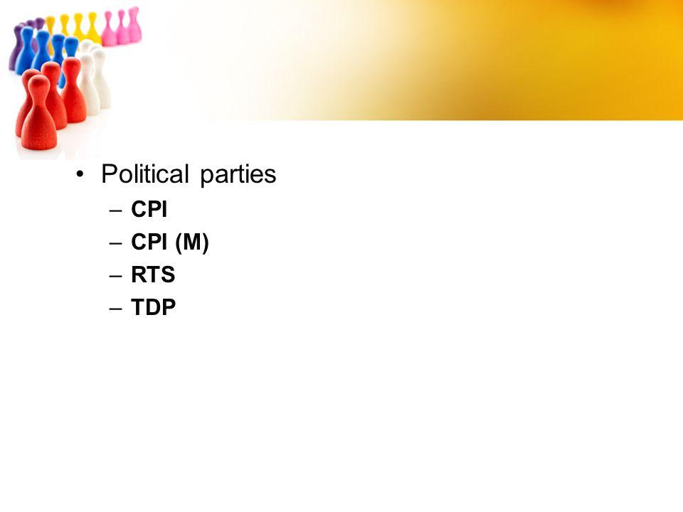 Political parties CPI CPI (M) RTS TDP