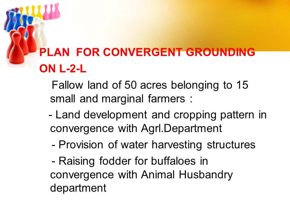 PLAN FOR CONVERGENT GROUNDING ON L-2-L Fallow land of 50 acres belonging to 15 small and marginal farmers : - Land development and cropping pattern in convergence with Agrl.Department - Provision of water harvesting structures - Raising fodder for buffaloes in convergence with Animal Husbandry department