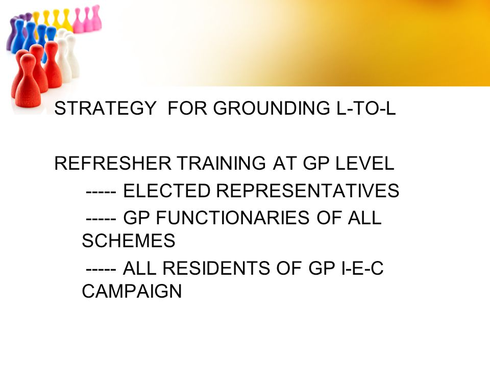 STRATEGY FOR GROUNDING L-TO-L REFRESHER TRAINING AT GP LEVEL ----- ELECTED REPRESENTATIVES ----- GP FUNCTIONARIES OF ALL SCHEMES ----- ALL RESIDENTS OF GP I-E-C CAMPAIGN