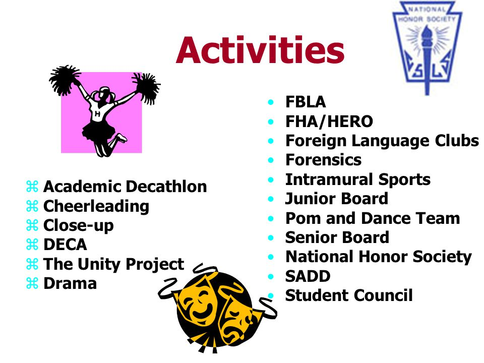 Activities FBLA FHA/HERO Foreign Language Clubs Forensics